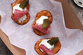 Salami-Cornichon Pretzel Bites