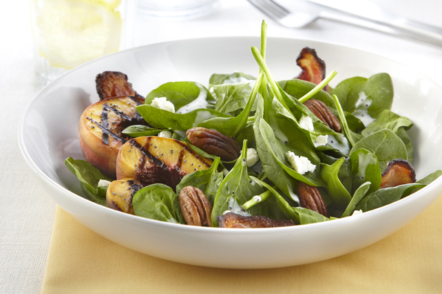 Spinach Salad with Peaches, Bacon & Goat Cheese Image 1