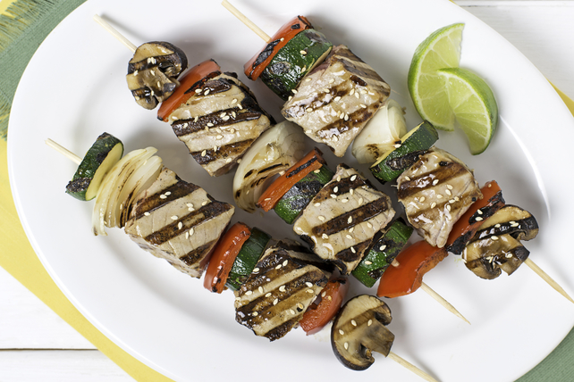 Grilled Tuna Brochettes with Asian Sesame Vinaigrette Image 1