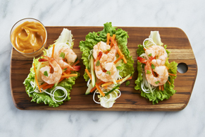 Shrimp Lettuce Wrap with an Easy Peanut Sauce