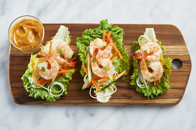 Shrimp Lettuce Wrap with an Easy Peanut Sauce Image 1
