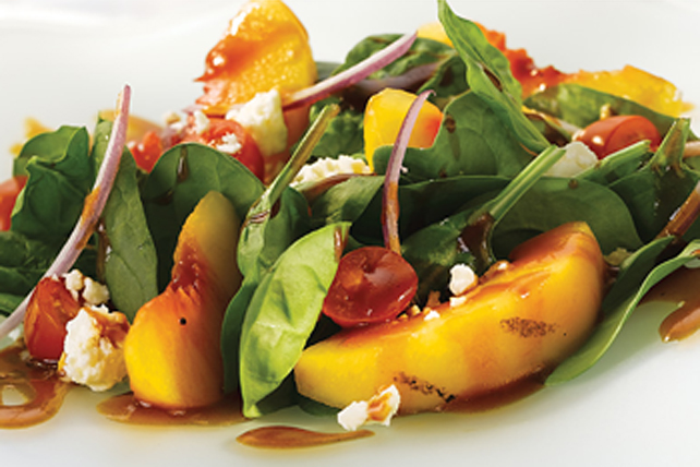 Maple Grilled Peach and Spinach Salad Image 1
