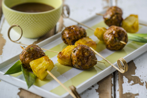 Jerk Pork Meatballs with Candied Pineapple