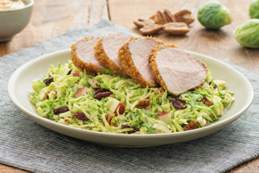 Chipotle Caesar Pork Tenderloin with Shredded Brussels Sprouts Salad