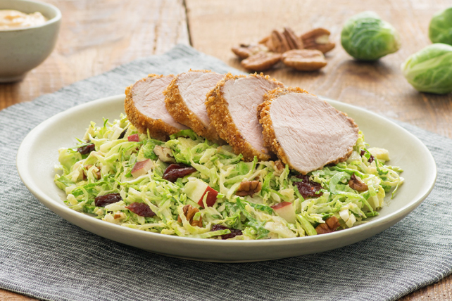 Chipotle Caesar Pork Tenderloin with Shredded Brussels Sprouts Salad Image 1
