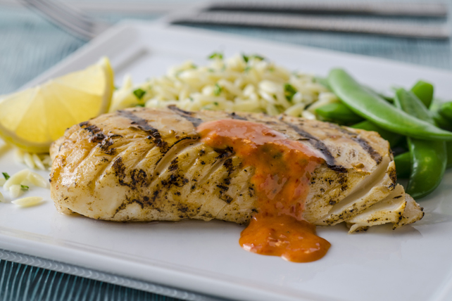 Spiced Cod Fillets with Roasted Red Pepper Sauce Image 1