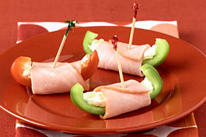 Sweet Pepper-Ham Wraps