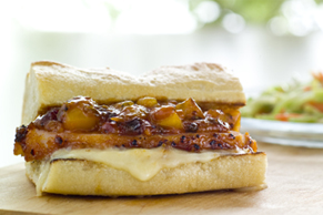 BBQ Peameal Bacon Sandwich with Mango and Brie