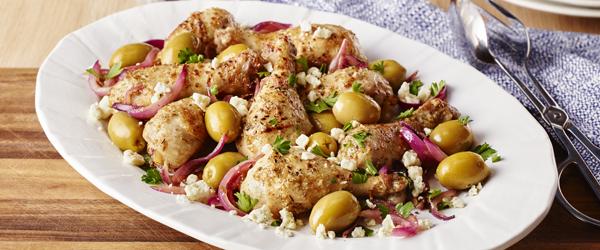 Pilons de poulet marinés à la grecque