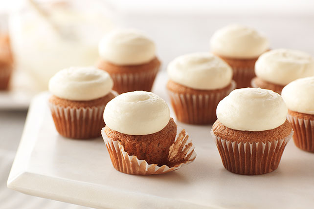 Bite-Size Carrot Cake Cupcakes with PHILADELPHIA Cream Cheese Frosting Image 1