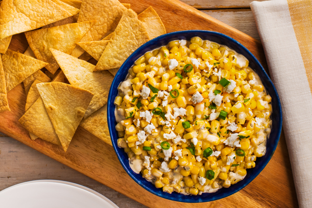 Mexican Street Corn Dip with Baked Tortillas