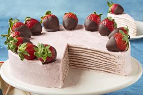 Frozen Chocolate-Strawberry Crêpe Cake
