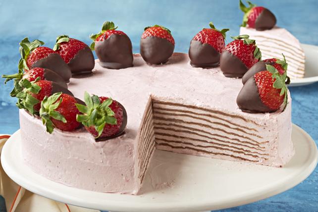 Gâteau de crêpes congelé au chocolat et aux fraises Image 1