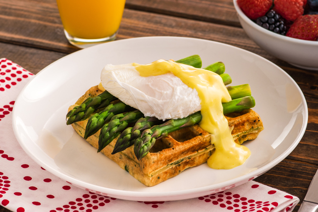 Savoury Herb Waffles with Poached Eggs and Asparagus Image 1