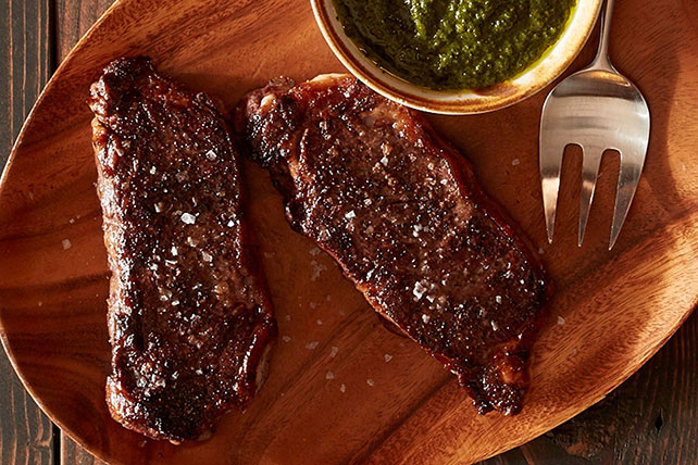 Roasted New York Strip Steak with Chimichurri Sauce