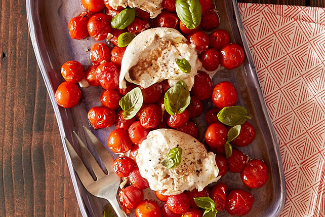 Roasted Tomatoes and Burrata Caprese Salad Image 1