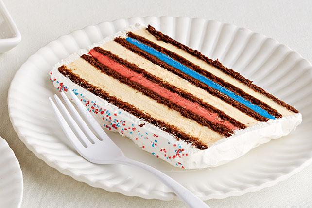 Pastel rojo, blanco y azul de helado Image 1