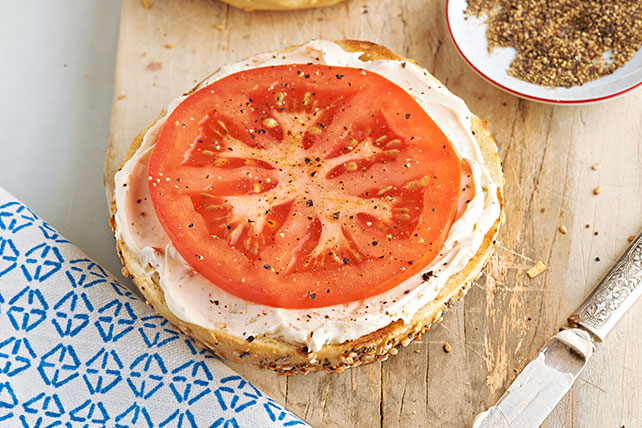 Garden Vegetable Bagel with Tomato Image 1