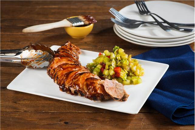 Grilled Barbecue Pork Tenderloin with Green Tomato Relish Image 1