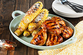 Wood-Smoked BBQ Chicken Thighs with Spicy Charred Corn