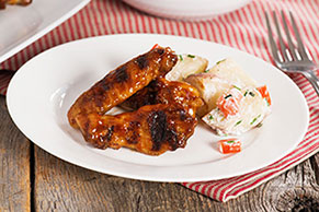 Low and Slow Grilled BBQ Chicken Wings with Foil-Pack Red Potato Salad