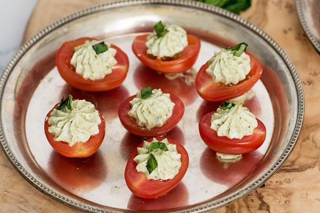 Pesto & Cream Cheese Stuffed Cherry Tomatoes Image 1