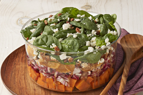 Layered Sweet Potato & Spinach Salad