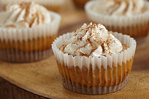 Mini Pumpkin Spice Latte Cheesecakes
