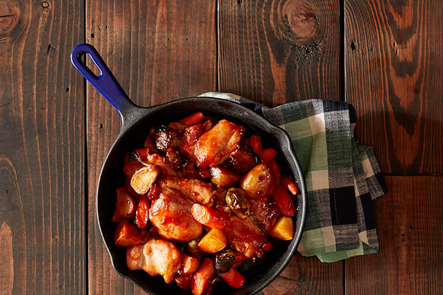 One-Skillet Roasted BBQ Chicken and Vegetables Image 1