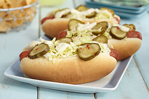 Wasabi-and-Napa Cabbage Hot Dogs