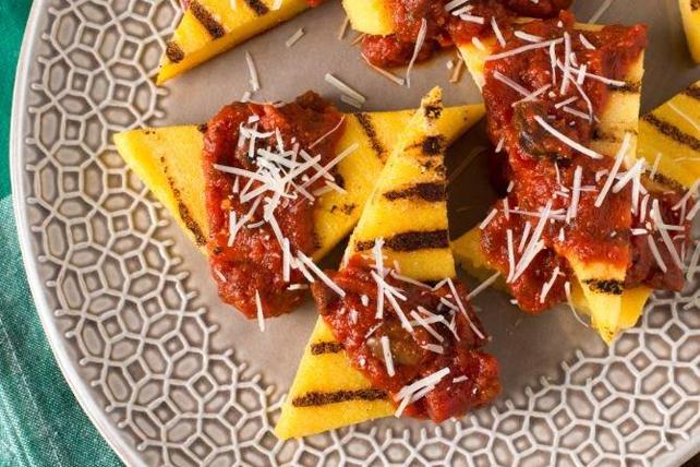Grilled Polenta with Sweet Basil Marinara Sauce Image 1