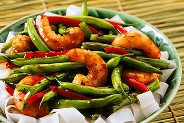 Sauté de haricots verts et de crevettes Image 1