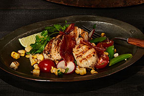 Seared Scallops with Spiced Bacon and Summer Salad