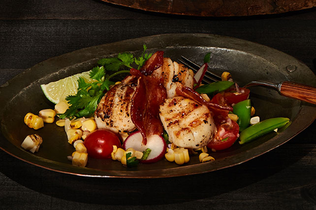 Seared Scallops with Spiced Bacon and Summer Salad Image 1