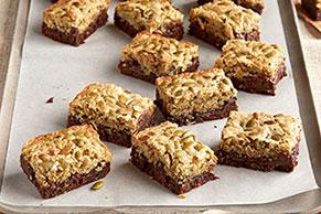 Layered Pumpkin Seed-Chocolate Brownies