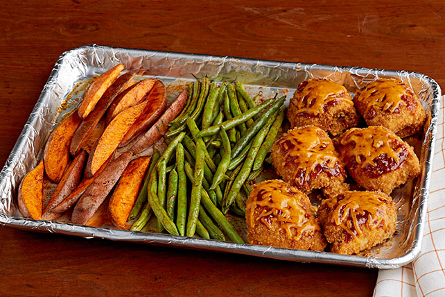 Easy dinner recipes kraft recipes bbq chicken and sweet potato sheet pan dish forumfinder Choice Image