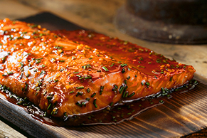 Saucy Cedar-Planked Salmon