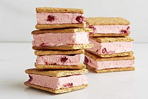 Creamy Raspberry Graham Frozen Sandwiches
