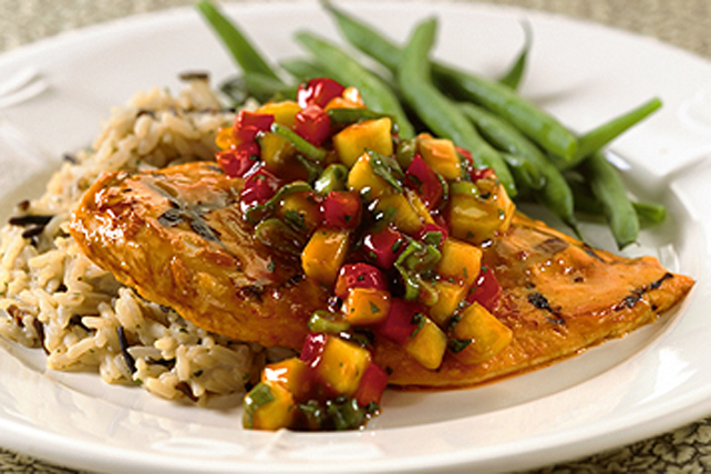 Grilled Chicken with Zesty Mango Red Pepper Salsa Image 1