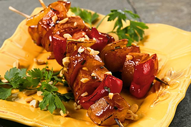 Teriyaki Sweet Potato and Pepper Kabobs