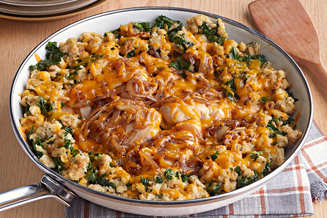 Pollo a la sartén y relleno con cebollas caramelizadas Image 1
