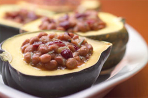 Maple Bean-Stuffed Acorn Squash
