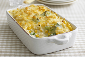 Cheesy Pasta Bake with Corn and Broccoli