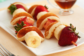 Pancake, Bacon and Fruit Skewers