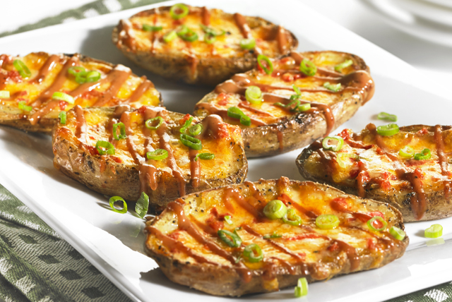 """Pimento Cheese"" Potato Skins with BBQ-Sour Cream"