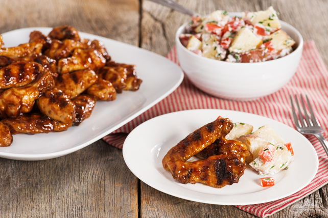 Low & Slow Grilled BBQ Chicken Wings with Foil-Pack Potato Salad Image 1