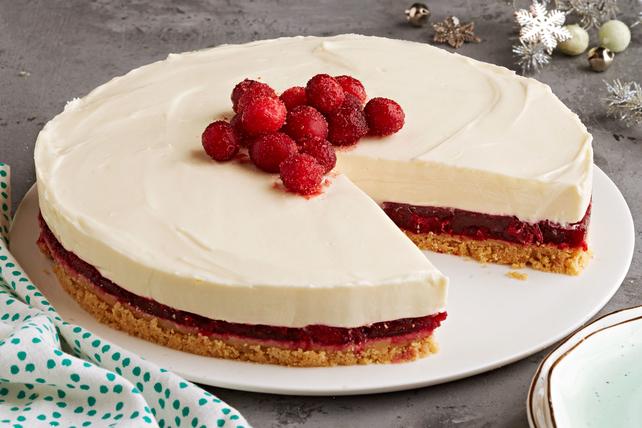 Cheesecake de arándano rojo y chocolate blanco sin hornear Image 1