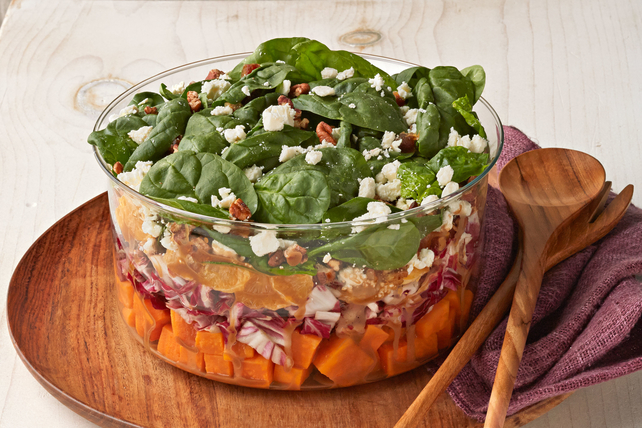Layered Sweet Potato and Spinach Salad Image 1