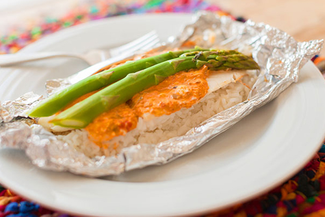 Foil-Pack Creamy Tilapia and Asparagus Packet Image 1