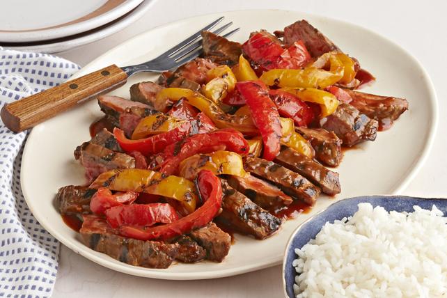 Bifteck et poivrons barbecue grillés pour deux Image 1